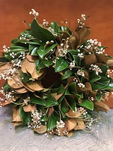Fresh Magnolia and White Toyon Berry Wreath