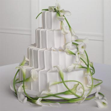Pleated White Fondant Cake with Calla Lilies