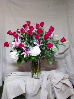 2 dozen roses, lilies and hydrangeas