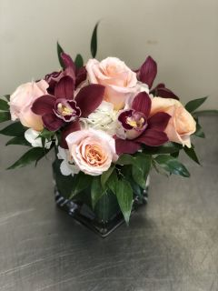 Peach Roses and Orchids