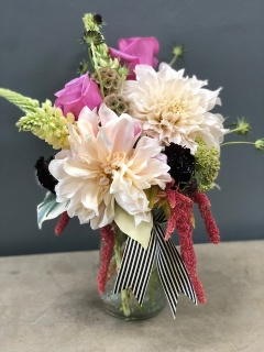 Dahlias and Stripes