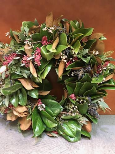 Fresh Magnolia and Mixed Berry Wreath
